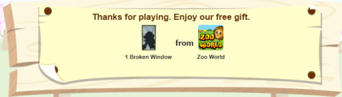 Zoo World is giving away free Broken Windows items