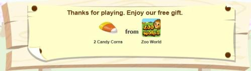 2 free candy corn available in Zoo World