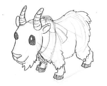 Sketch of the White Mountain Goat with a Scarf