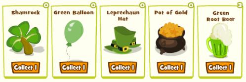 Saint Patricks Day Items: Shamrocks, Green Balloons, Leprechaun Hats, Pots of Gold, Green Root Beer